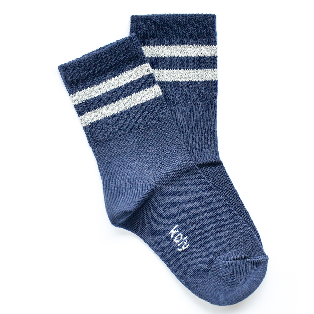 Ženska čarapa sa srebrno sjajnim prugama