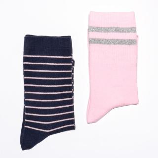 Ženska čarapa sa sjajnim roze prugama