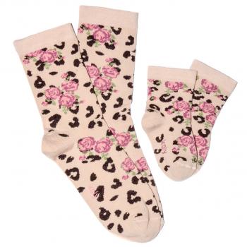 Čarape sa leopard - ruža printom