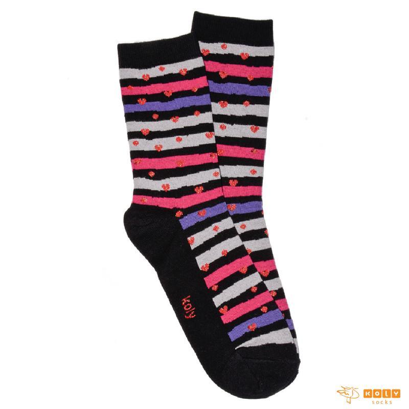 Sjajna Srca Crna čarape